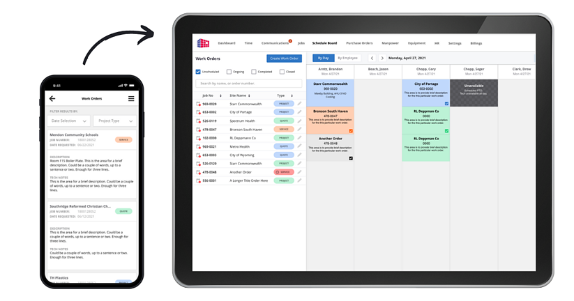 Custom software for mechanical contractor - work orders